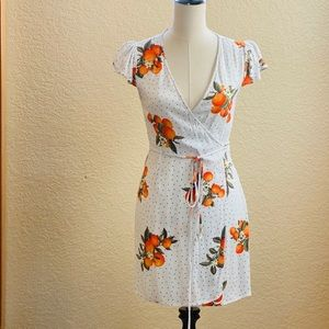 Orange floral polka dot wrap dress